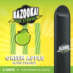 Bazooka SOUR STRAWS Disposable Pods - GREEN APPLE